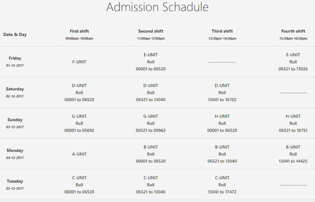 Islamic University Admission Test Seat Plan and Schedule