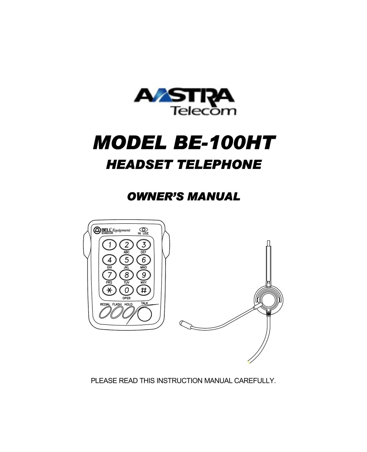 User manuals for Corded Headset