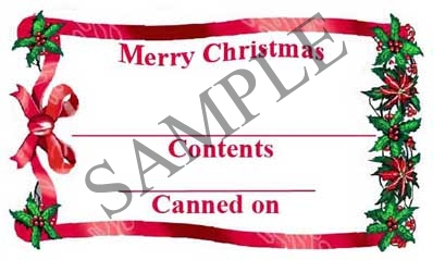 Merry Christmas w/Bow Rectangle Canning Label #RCT123