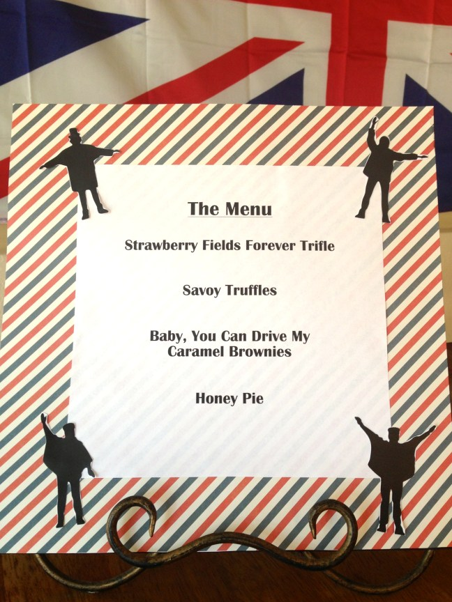 Beatles party menu