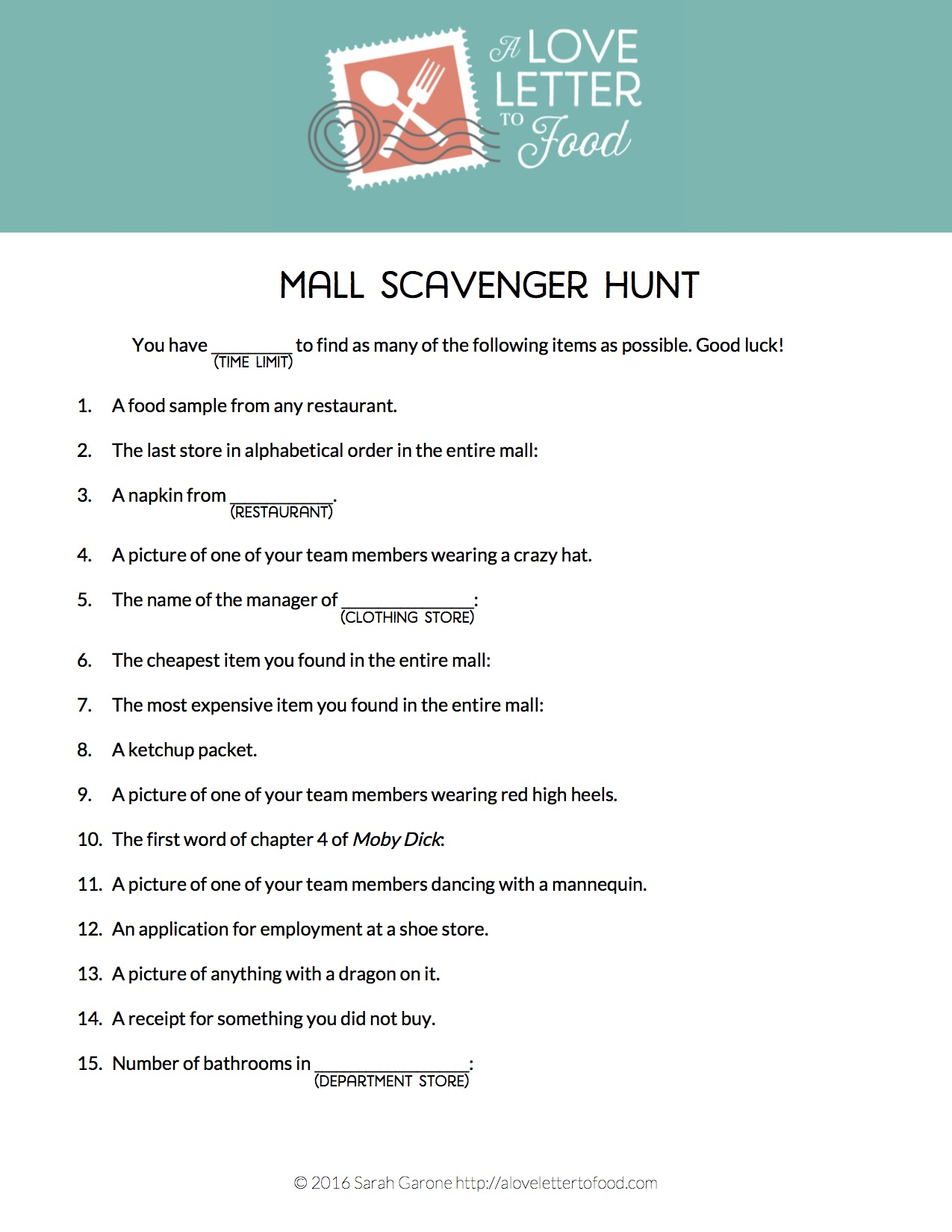 Mall Scavenger Hunt A Love Letter To Food
