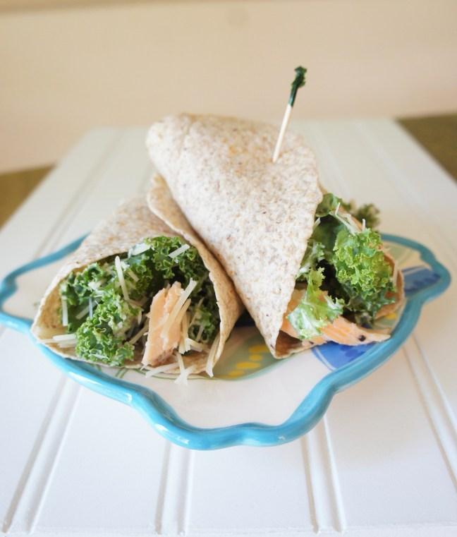 Salmon Kale Caesar Wraps