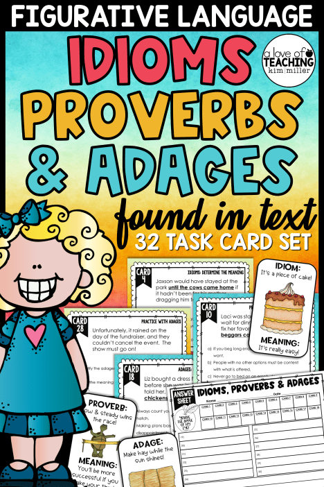 Idioms, Proverbs, and Adages Task Cards - Kim Miller - A Love of Teaching