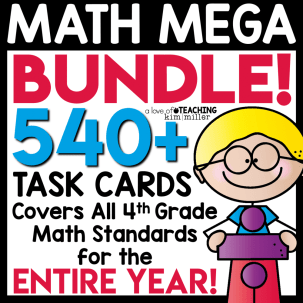 task card math bundle for the entire year