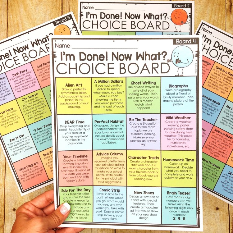 Choice Boards for Early Finishers