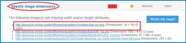 """Giải quyết ảnh không chỉ định kích thước """"Specify images dimensions"""""""