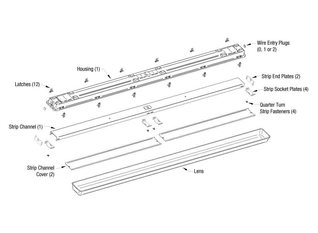 Sentry® Series 8' Fluorescent Strip Type