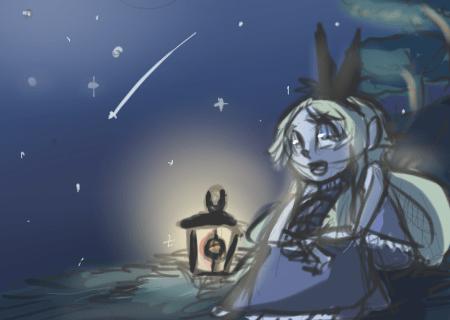 Rufina watching the night sky.