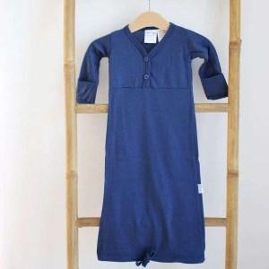 chemise de nuit en mérinos bleu marine