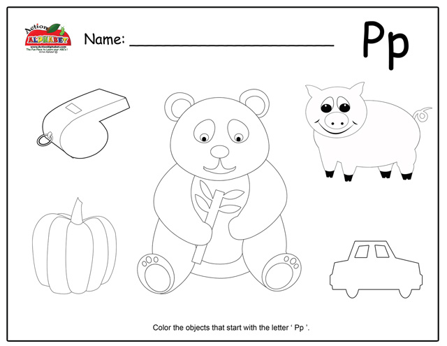 Free coloring pages of letter p objects