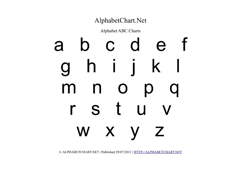 Lowercase Alphabet Charts in PDF ( Normal, Bold & Italic