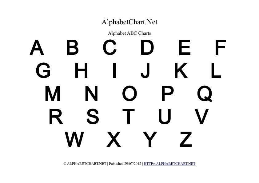 Alphabet chart printables for children. Download free A4