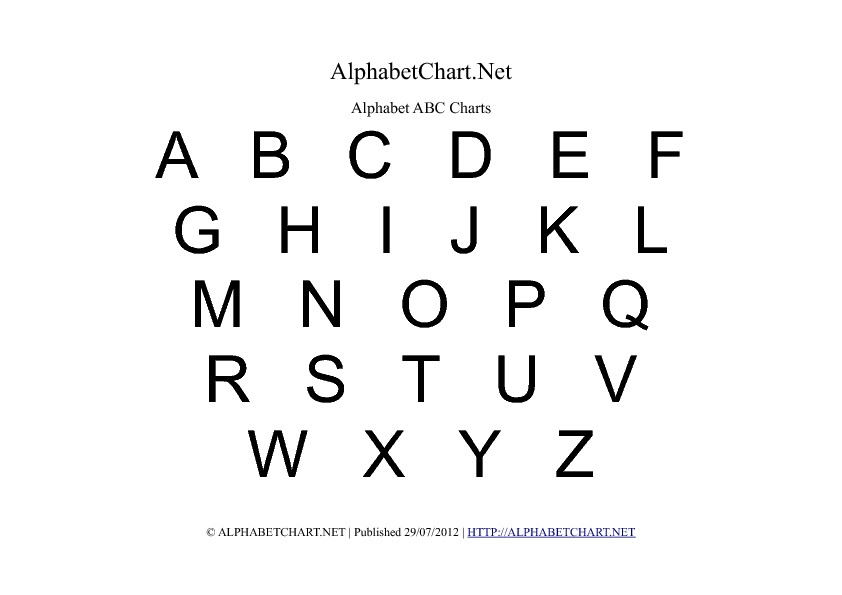 Uppercase Alphabet Charts in PDF ( Normal, Bold & Italic