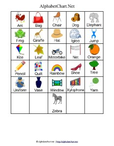 Words alphabet letter chart with pictures also printables for children download free  pdf charts rh alphabetchart