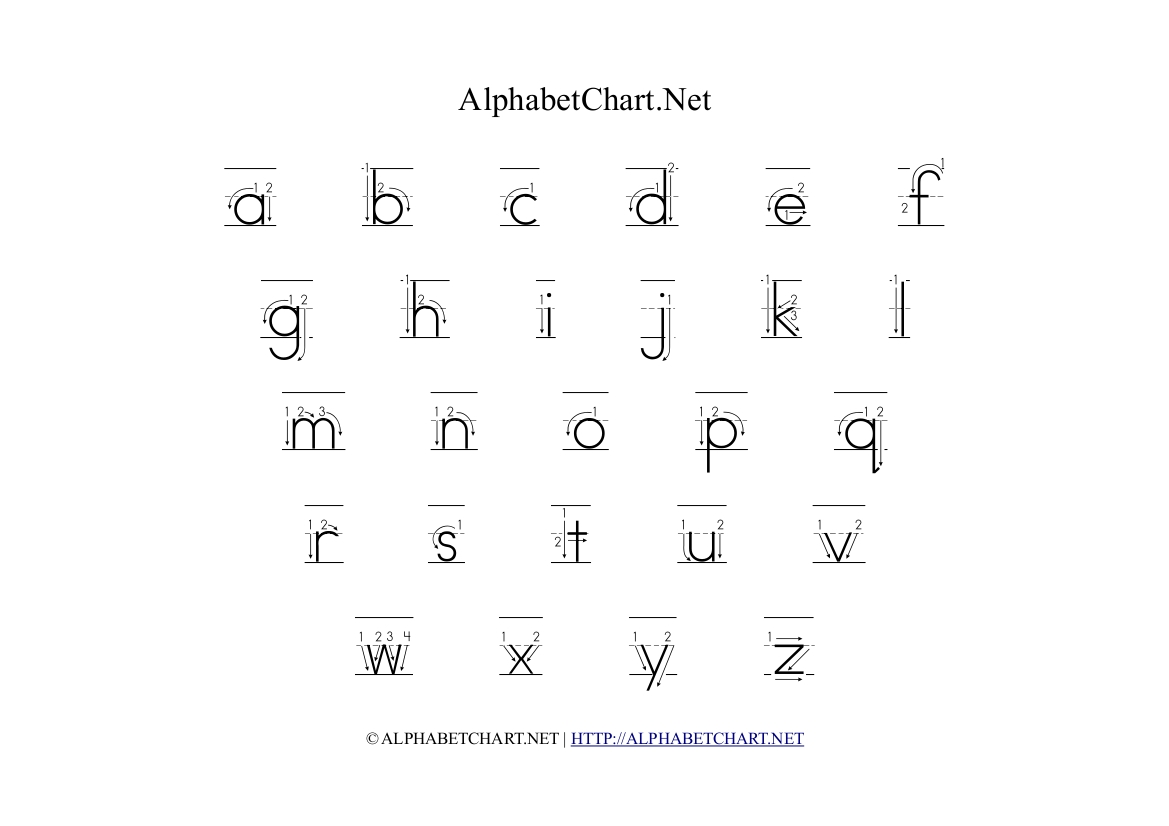 Alphabet Chart With Arrows In Lowercase