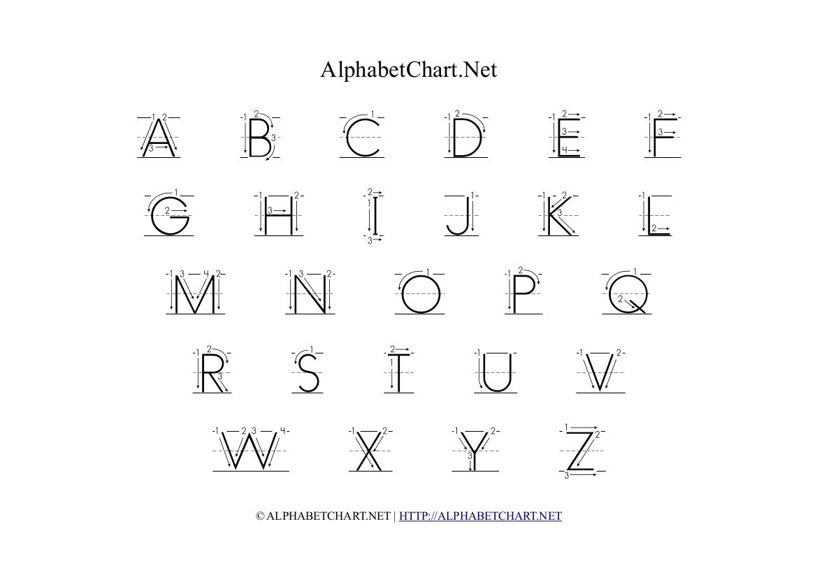 Alphabet Chart With Arrows In Uppercase