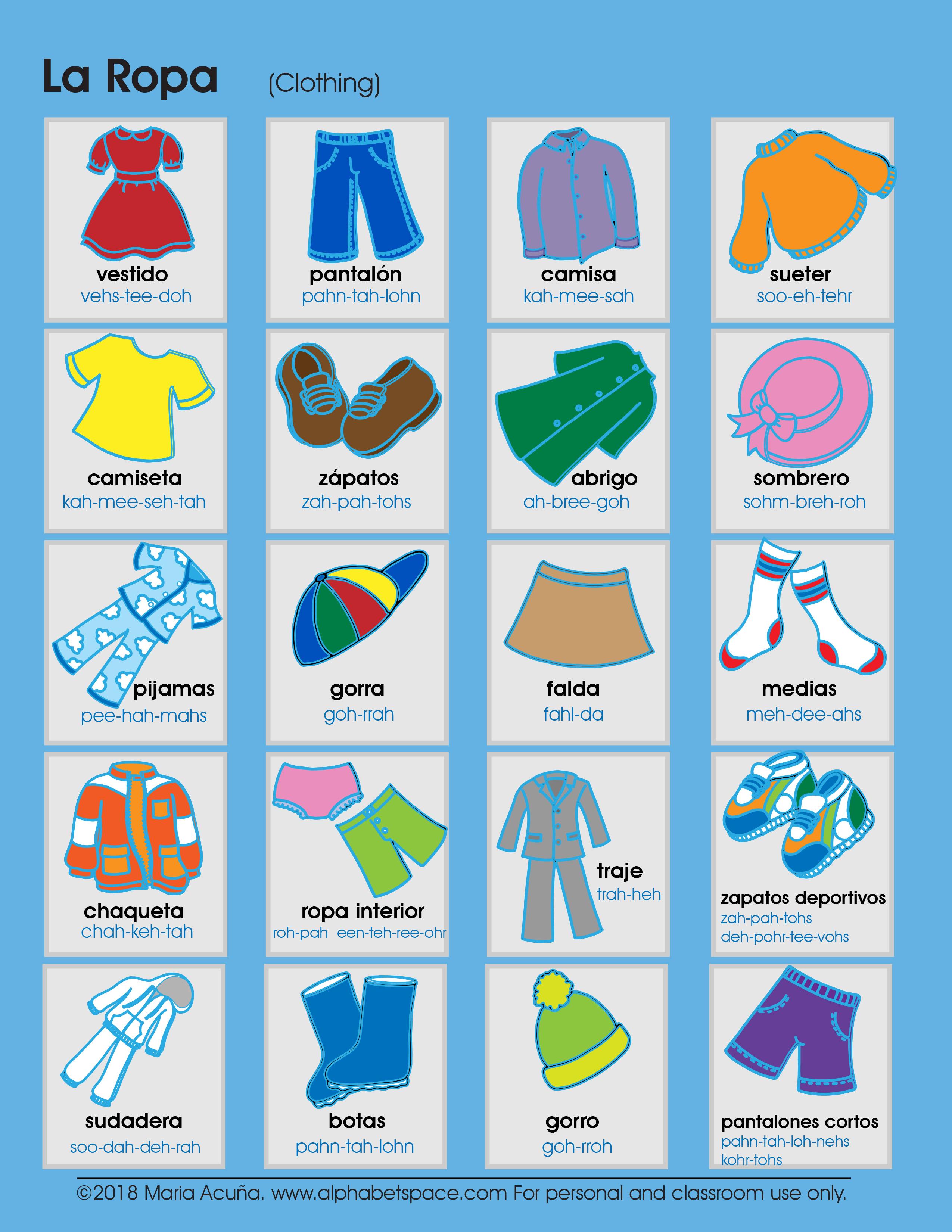 La Ropa Clothing Spanish For Children