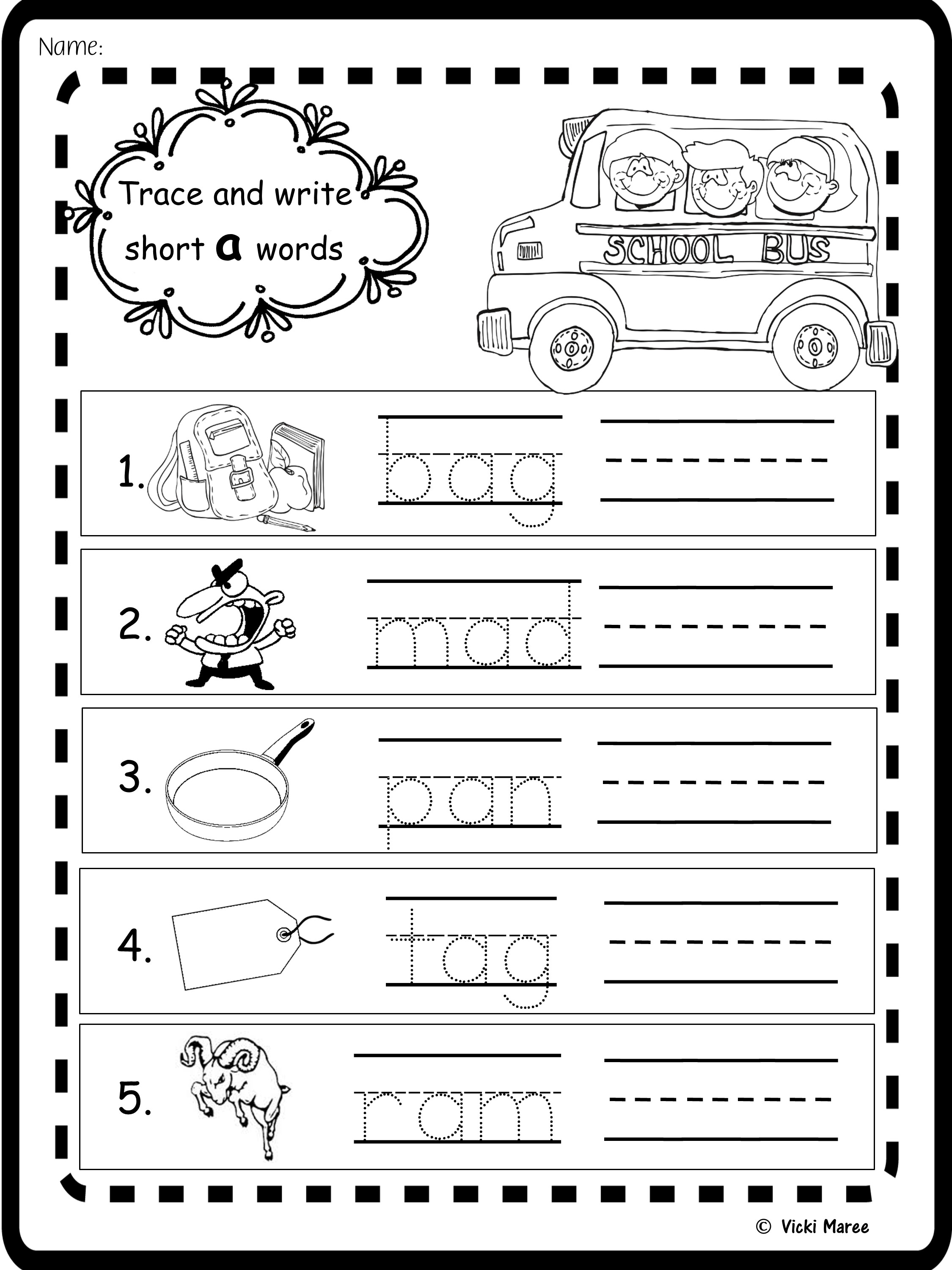 Short Vowel No Prep Worksheets