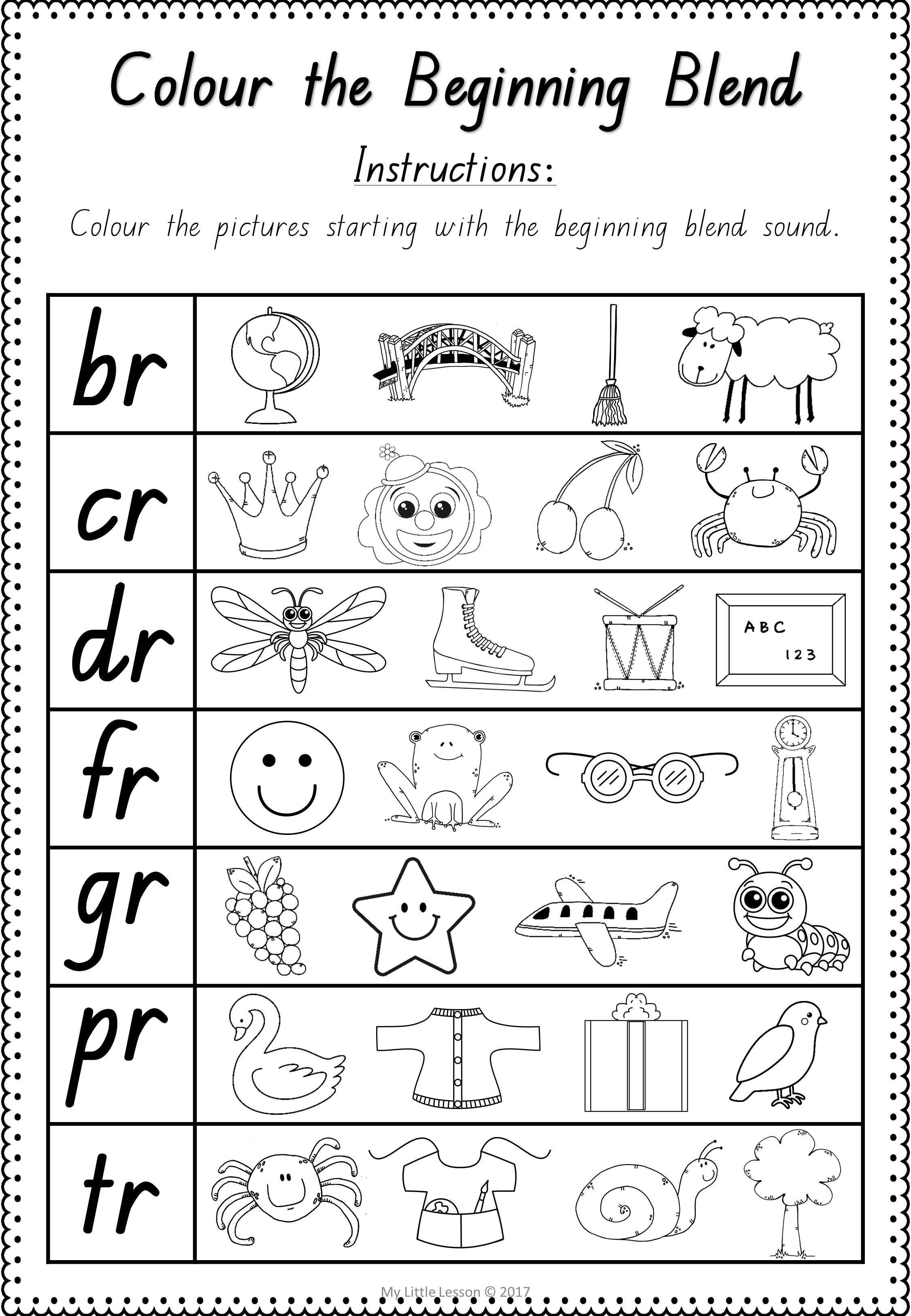 Beginning Blends Br Cr Dr Fr Gr Pr Tr Qld Beginners Font