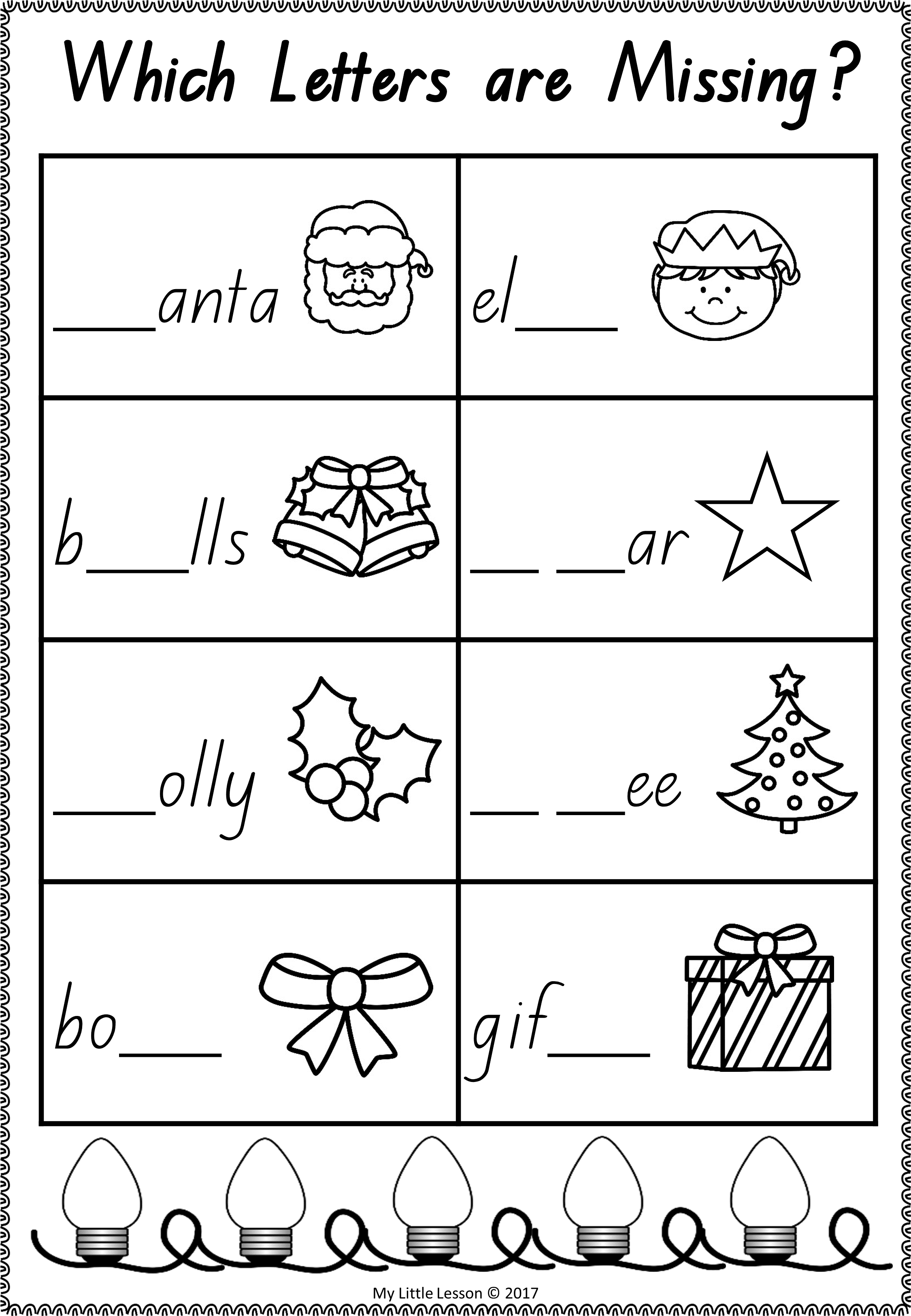 Free Christmas Worksheet For English