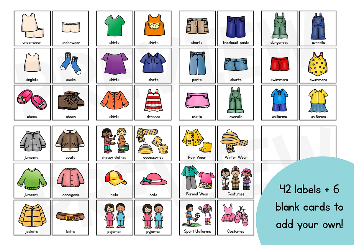 Kids Clothing Drawer Labels