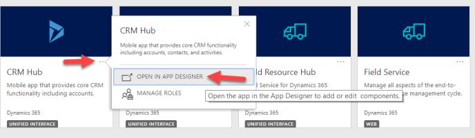 App Designer in CRM Hub
