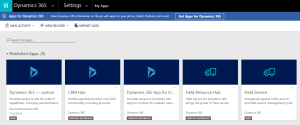 Published Apps in Dynamics 365