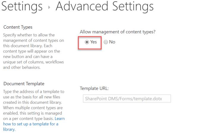 content types allow management