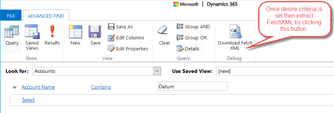 Advanced Find For FetchXML in Dynamics CRM