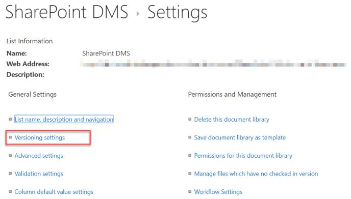 DMS Versioning Settings