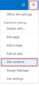 gear icon on content type sharepoint