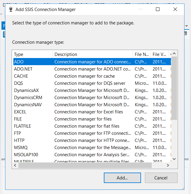 SSIS Connection Manager