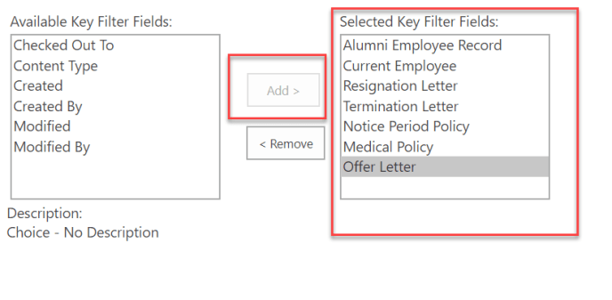 Available Key filters Fields