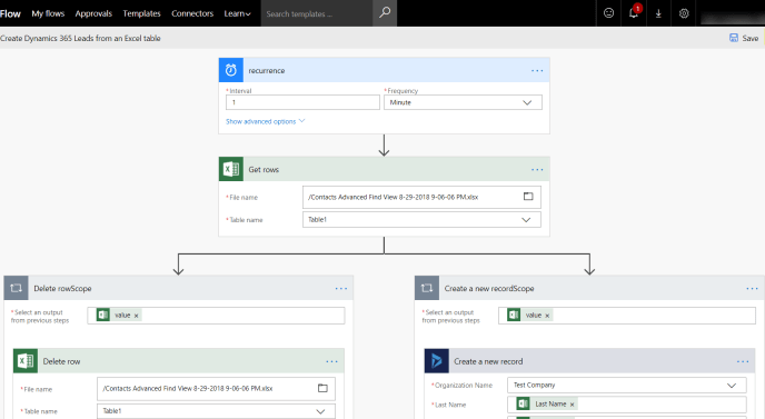 Create Dynamics 365 Leads from Excel table at Cloud Storage