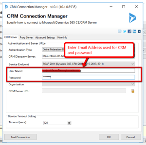 crm server in crm connection manager