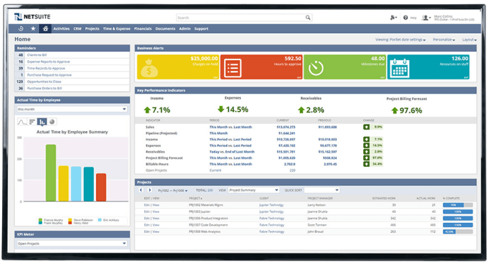netsuite dashboard screen