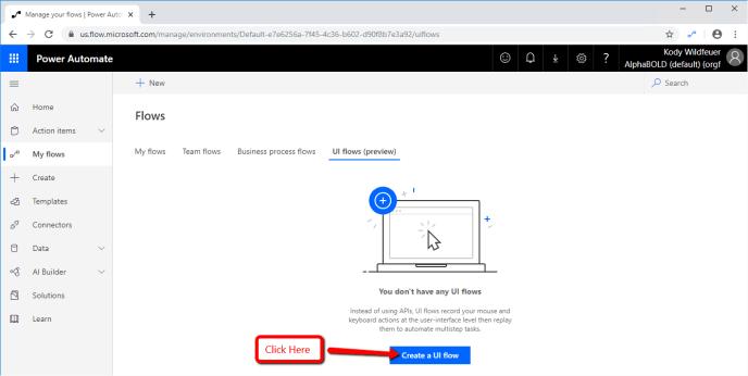Create a UI flow