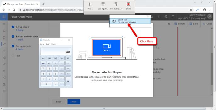 Select text option