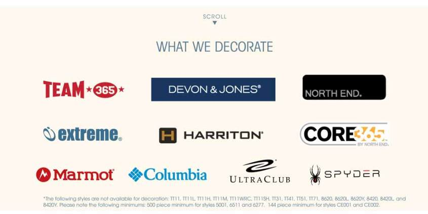 All the brands alphabroder decorates on