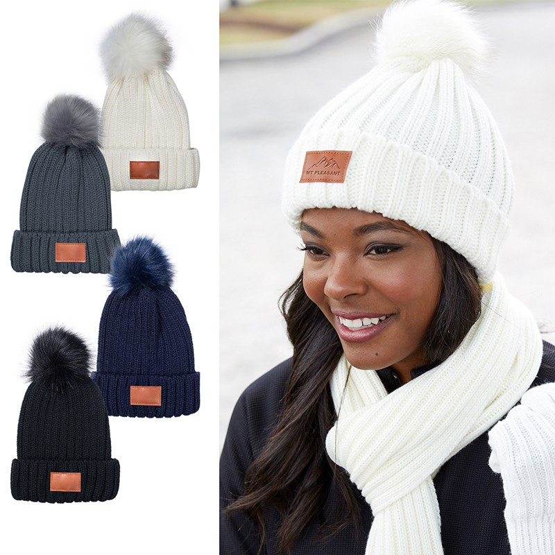 Promotional Apparel Leeman™ Knit Beanie With Fur Pom Pom