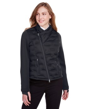 North End Ladies' Pioneer Hybrid Bomber Jacket promotional apparel