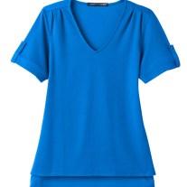 Devon & Jones Ladies' CrownLux Performance™ Plaited Rolled-Sleeve Top (DG20WB)