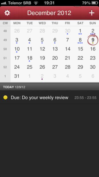Interface of iOS Fantastical