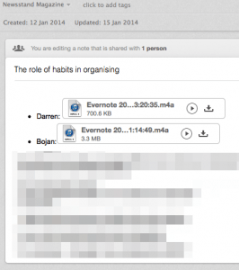 Evernote voicemail screenshot