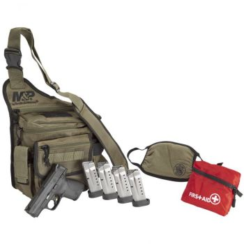"""Smith and Wesson M&P9 Shield 9mm 3.1"""" Barrel 8-Rounds Bug Out Bag Bundle"""