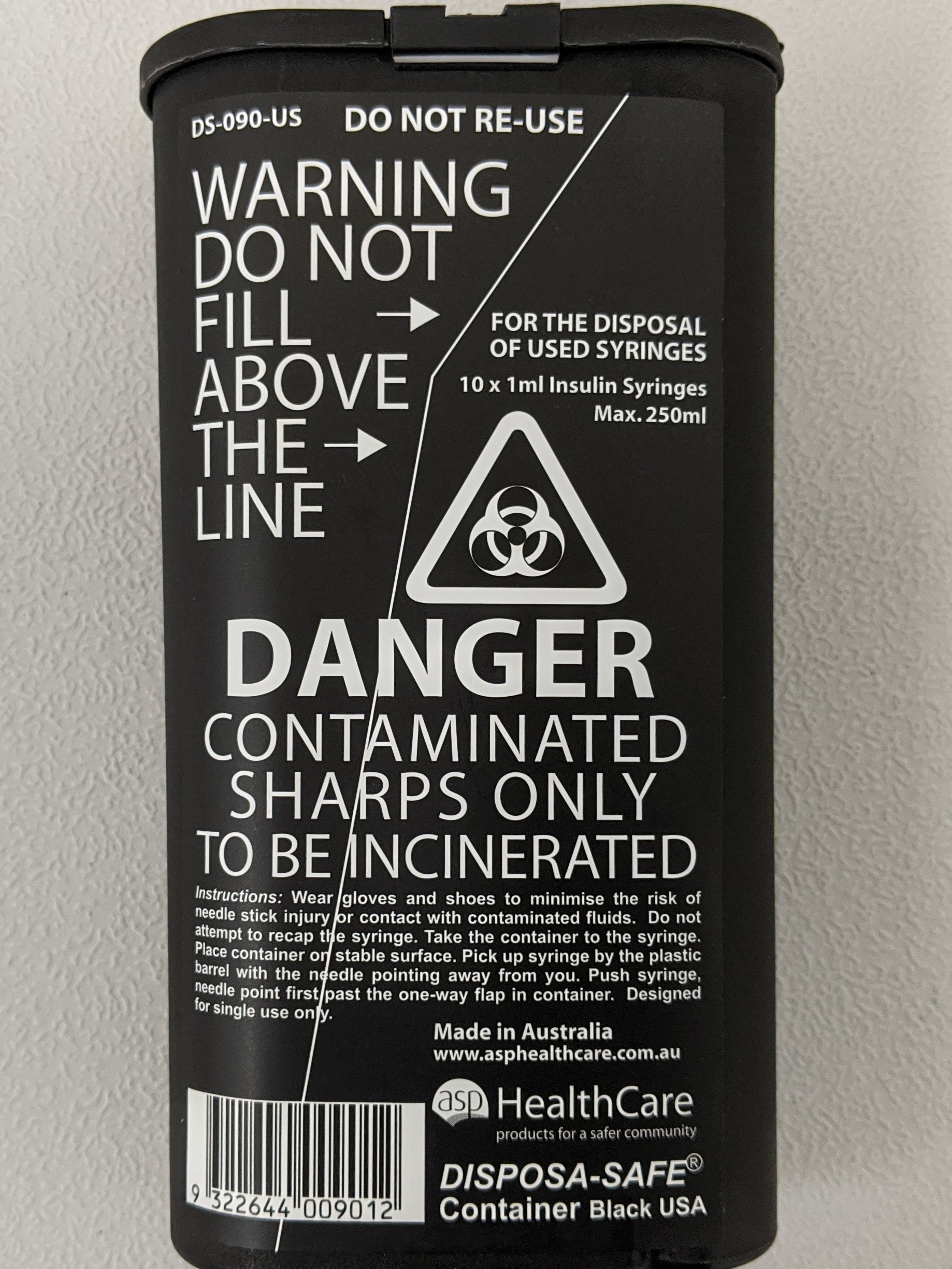 Black Sharps Container