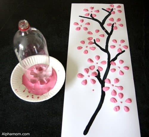 Cherry Blossom Art Made with Soda Bottle | alphamom.com