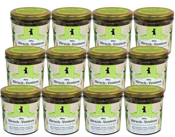 hirsch-300g-12er-sparpaket-getreidefreies-purinarmes-glutenfreies-hundefutter-glas-muskelfleisch-pastinake-kuerbis-cranberries-birne-hagebutte-aronia-alpha-natural