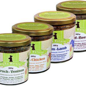 mixpaket-300g-4er-testpaket-mit-4-sorten-muskelfleisch-rind-lamm-huhn-ente-getreidefreies-purinarmes-glutenfreies-hundefutter-glas-alpha-natural