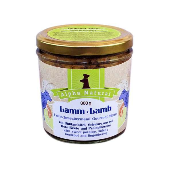 weide-lamm-300g-getreidefreies-purinarmes-glutenfreies-hundefutter-glas-muskelfleisch-suesskartoffel-schwarzwurzel-rote-beete-preiselbeere-alpha-natural